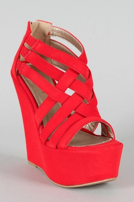 Coral Wedge Wedding Shoes