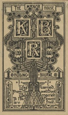 Bookplates by  E. Bengough Ricketts for The Manor House Hollingbourne, 1897