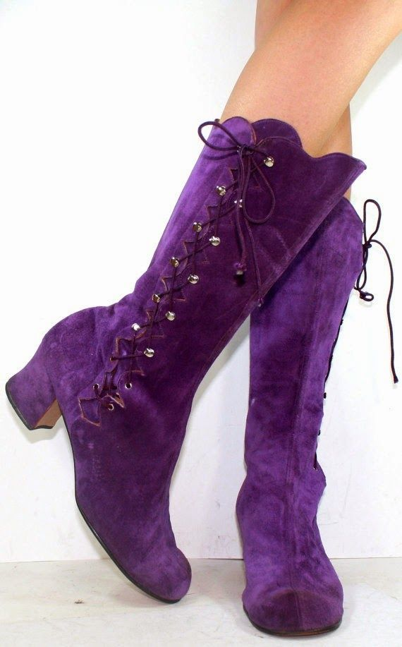 Vintage High Heel Suede Purple.