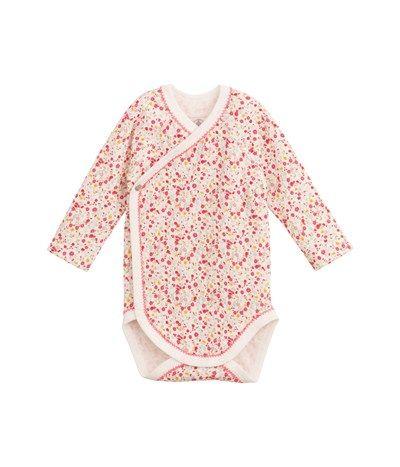 Body naissance bébé fille manches longues en tubique imprimé fleuri blanc Lait / lot Multico - Petit Bateau
