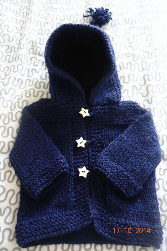 Gilet Bébé à capuche bleu marine Taille 3/6 mois – Le tricot dans tous ses états