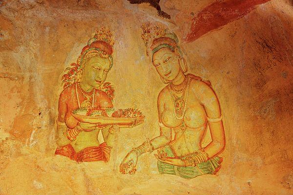 Sigiriya cave fresco - Two women with flowers by Svetlana Yelkovan  #SvetlanaYelkovanFineArtPhotography #SriLanka #ArtForHome #FineArtPrints #Sigiriya #Fresco