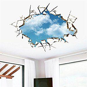 Pegatina de pared vinilo adhesivo vista cielo azul nubes blanca efecto 3D decorativo para cuartos, salon,cuarto de juegos,dormitorio,cocina,sala de estar ... OPEN BUY