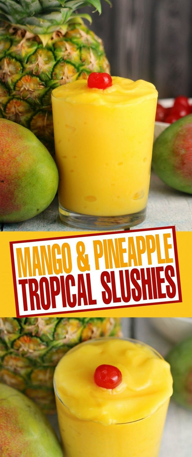 With summer on the way, these Mango & Pineapple Tropical Slushies are a refreshing drink to help you cool down. Plus they are healthy too!