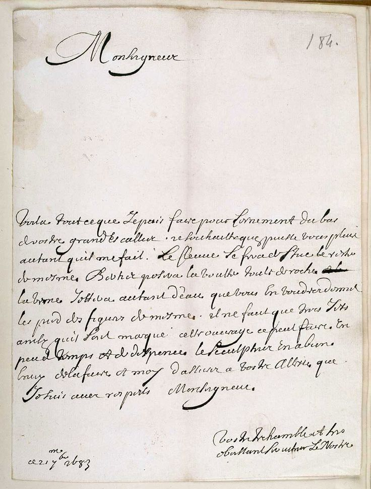 Letter from André le Nôtre to the Prince of Condé, 21 September 1683
