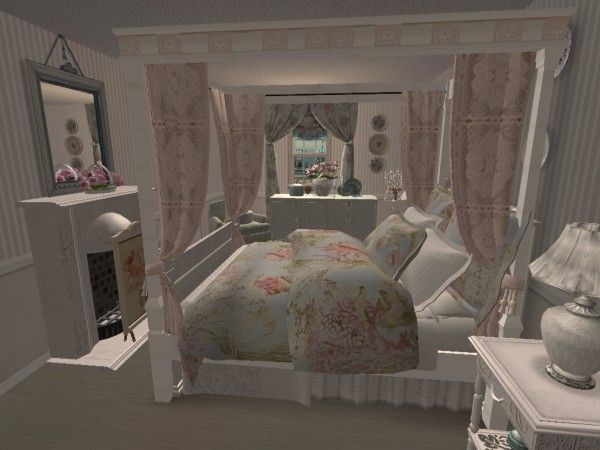 Shabby chic bedroom view 2 virtual room design home d cor Download home decoration pics