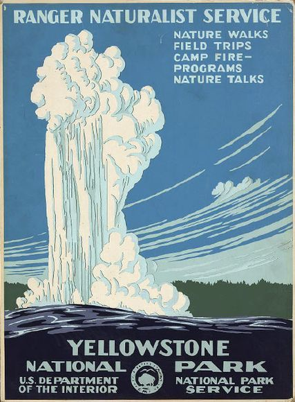 Old Faithful erupting at Yellowstone National Park, National Park Service, circa 1938