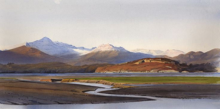 Snowdon and Ynys Giftan, an original watercolour painting by Rob Piercy