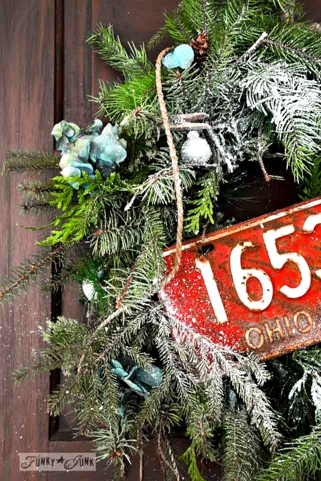 From faux garland to a real rustic wreath for Christmas! Easy and free! via http://www.funkyjunkinteriors.net/