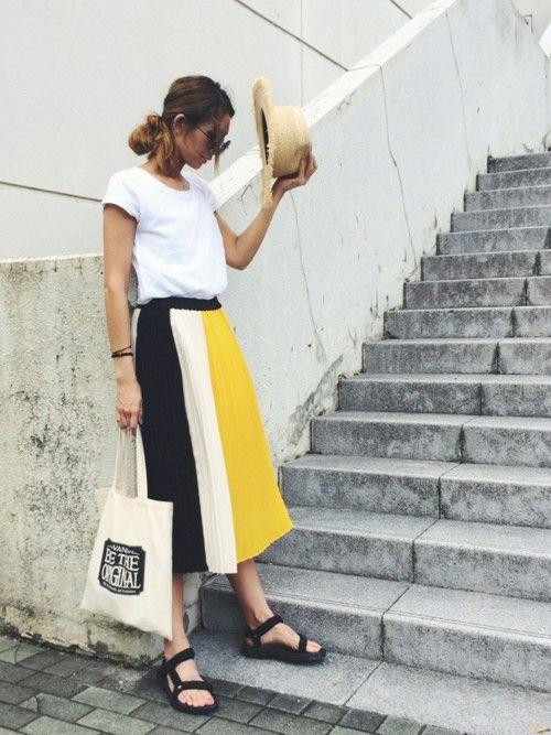 mariko   さんの「カラーブロックプリーツスカートC1(雑誌掲載)(SISLEY)」を使ったコーディネート