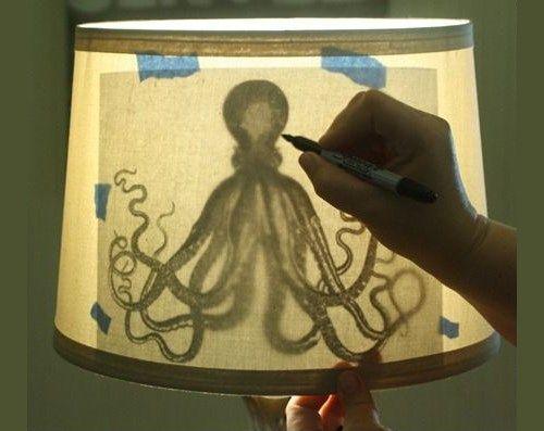 Нанесение рисунка на абажур