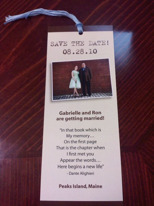 A save the date bookmark?! YES!