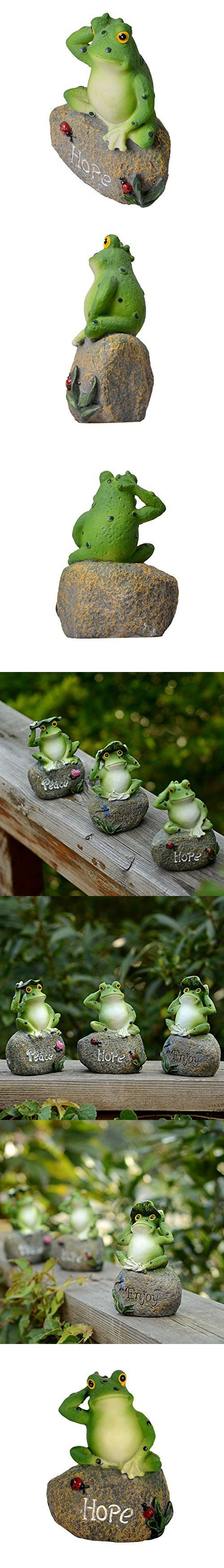 [Return to Natural] Cute Frog Garden Figurine Sculpture Decoration Statue Home Decor Accents Collection Hand Painted Design Ornaments, Hope
