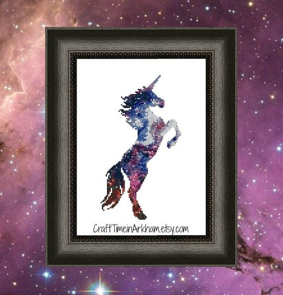 Galaxy unicorn silhouette space cross stitch pattern for Space unicorn fabric