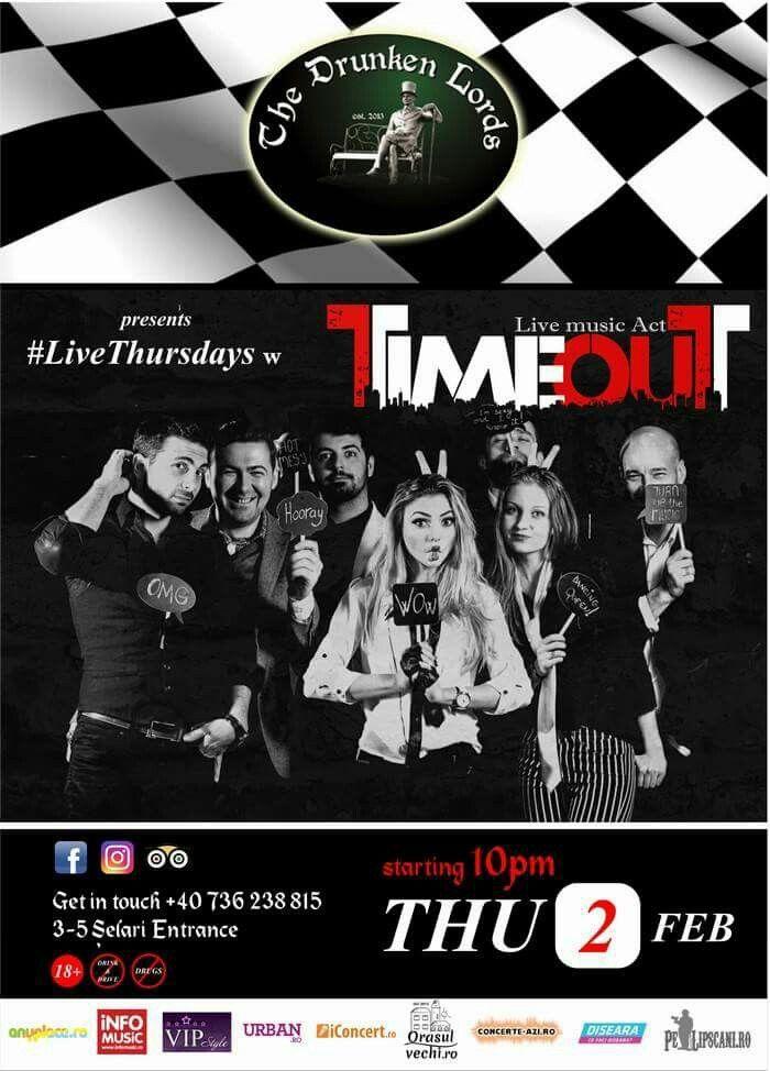 Joi, 2 Februarie, începând cu orele 22:00, Trupa TimeOut concertează la The Drunken Lords! Trupa de cover-uri este formată din 7 muzicieni talentați, plini de energie care vă vor suprinde cu un show aparte. RSVP: 0736.238.815  Intrarea este liberă!