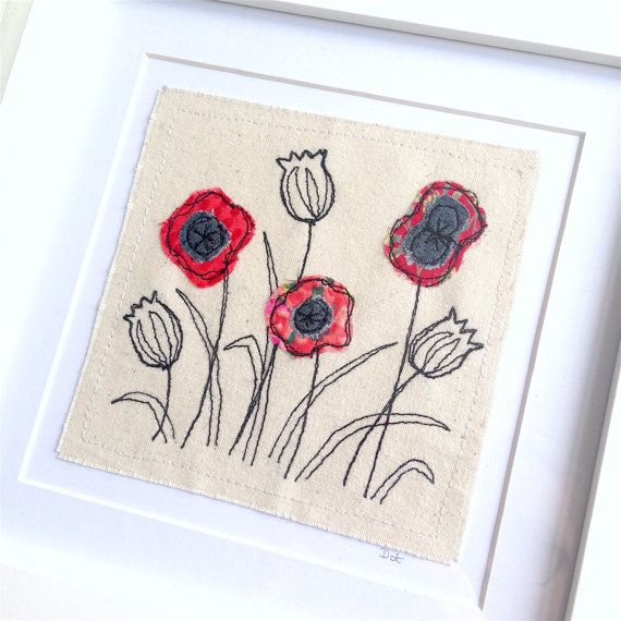 Poppies flower framed wall art picture gift, personalised machine embroidered stitched fabric applique. Birthday sympathy poppy easter