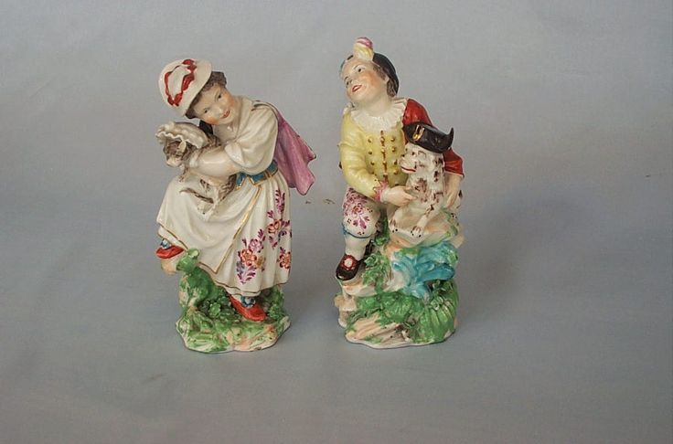 """A rare pair of DERBY figures. Boy and Girl,he with   a  Macaroni Dog and  she with a Cat.      Ref.  Bradshaw, Derby Porcelain Figures No.49 p205 Patch Marks Incised No 49 and G to each  Circa 1775     Height 5 1/4"""""""