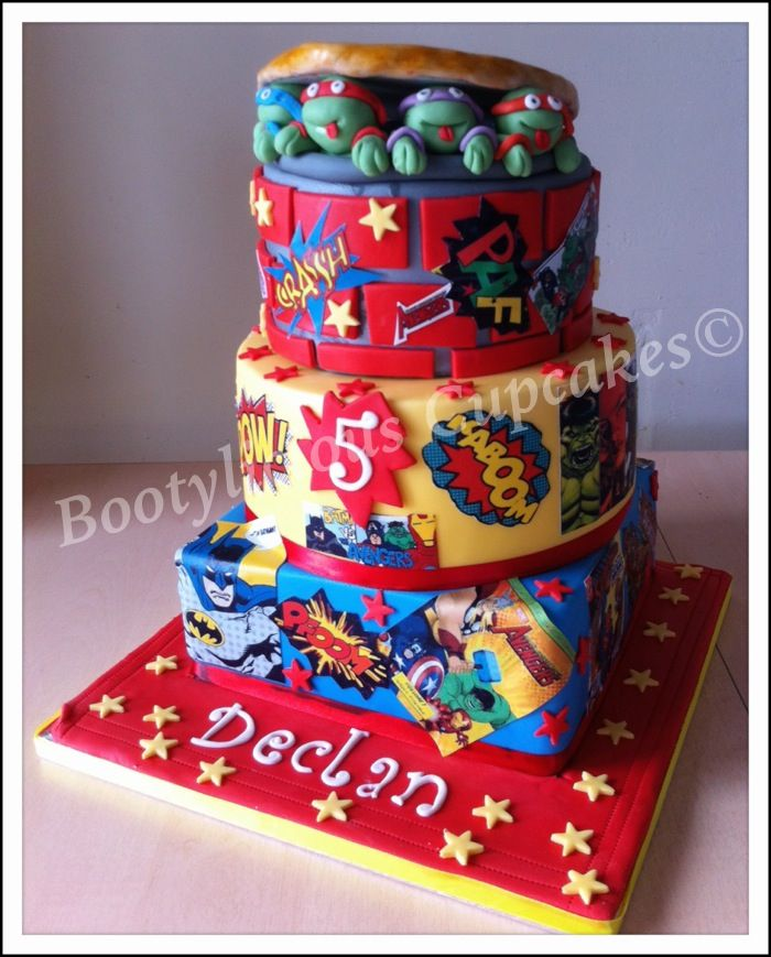 Superhero and turtles cake