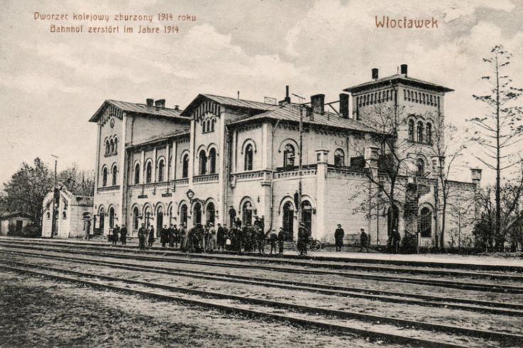 Włocławek, Poland. Old railway station.  Demolished in 60's XXth century.