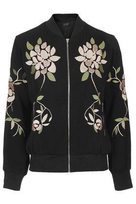 Topshop Floral Embroidered Bomber Jacket
