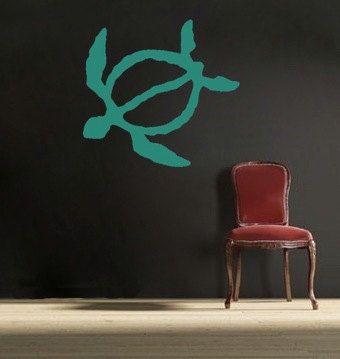 Turtle, Honu, vinyl Wall DECAL- Animal interior design, sticker art, room, home and business decor. $25.00, via Etsy.