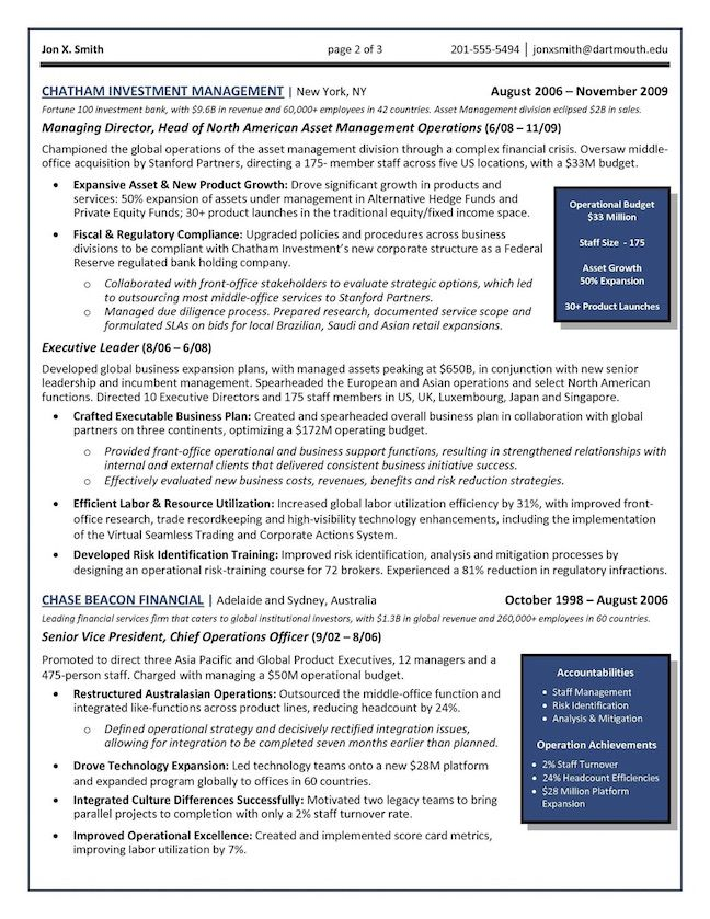 Chief Operations Officer (COO) - Global Operations Director Resume Example Page 2