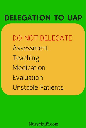 Nursing tasks that shouldn't be delegated to UAP
