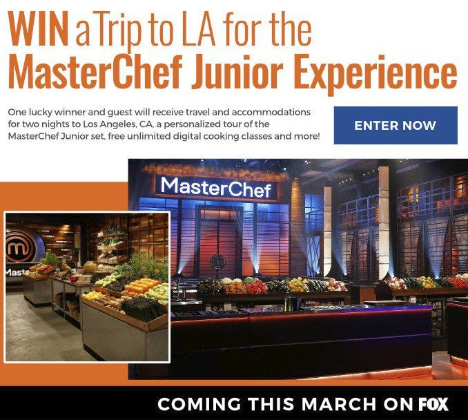 Grand Prize is a $1,350.00 2-night trip for 2 to Los Angeles, CA; a personalized tour of the MasterChef Junior Set; meet-and-greet with MasterChef Junior talent; Masterchef Junior Cookbook, and a 1-year subscription to all of Craftsy's online classes.