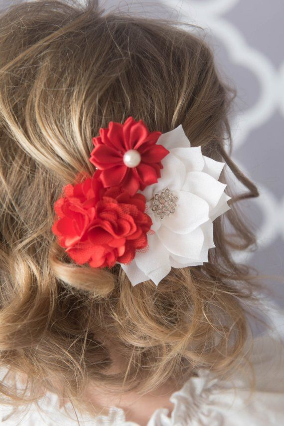 Red Hair Clip White Poinsettia Flower Red Flower Clip Toddler Hair Clip Flower Girl Gift Girl Birthday Gift Christmas Hair Clip Red Hair Clips Flower Clip Flower Girl Gifts