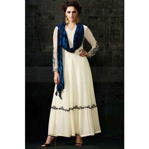 OFF WHITE GEORGETTE ANARKALI SUIT Price - £85.00 #AnarkaliSuit  #Fashion #DesignerDresses #ShopkundUK  #IndianOnlineSuit