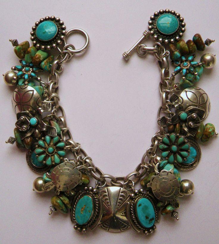 Vintage Fred Harvey era turquoise and silver charm bracelet Zuni Navajo pieces