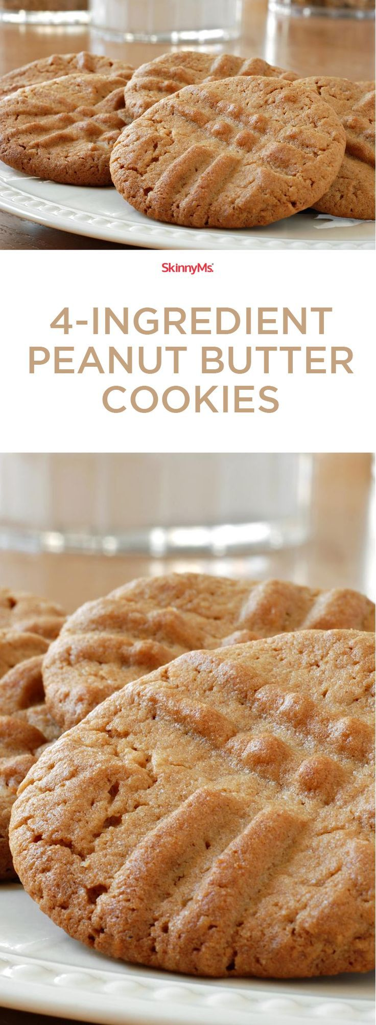 4-Ingredient Peanut Butter Cookies: For a super easy healthy, guilt-free dessert! #peanutbutter #cookies