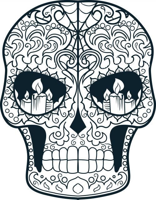 Sugar Skull Advanced Coloring 15 Skulls Coloring Pages Skull