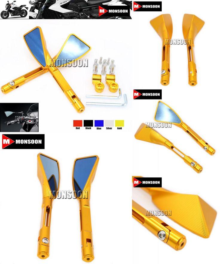 [Visit to Buy] For YAMAHA XJR1300 XJ6 V-max MT-01 MT-03 TDM900 FZ1 FZ6 YBR Motorbike Accessories CNC Aluminum rearview Side mirror Gold #Advertisement