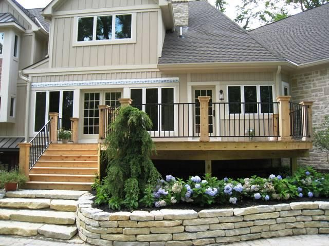 Stairs from deck to patio.