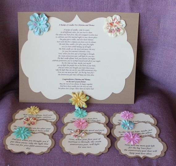 Wedding Shower Candle Poem Tag Set Brown.  Bridal candle basket Poem and Tags.  Sentimental wedding gift.  Shower Present.  Bride Gift. on Etsy, $20.00