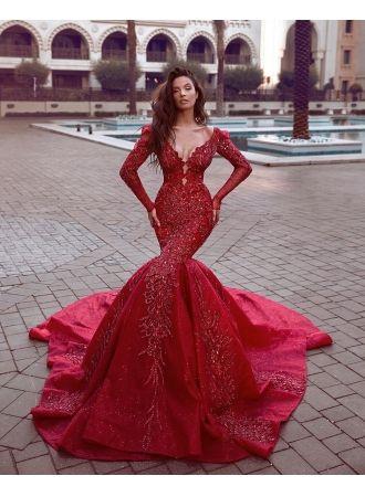 e0a9516de52e1e Fashion Rote Abendkleider Lang Günstig | Abendkleid Mit Ärmel ...