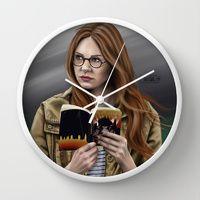 Wall Clock featuring Amelia by Mascmallow