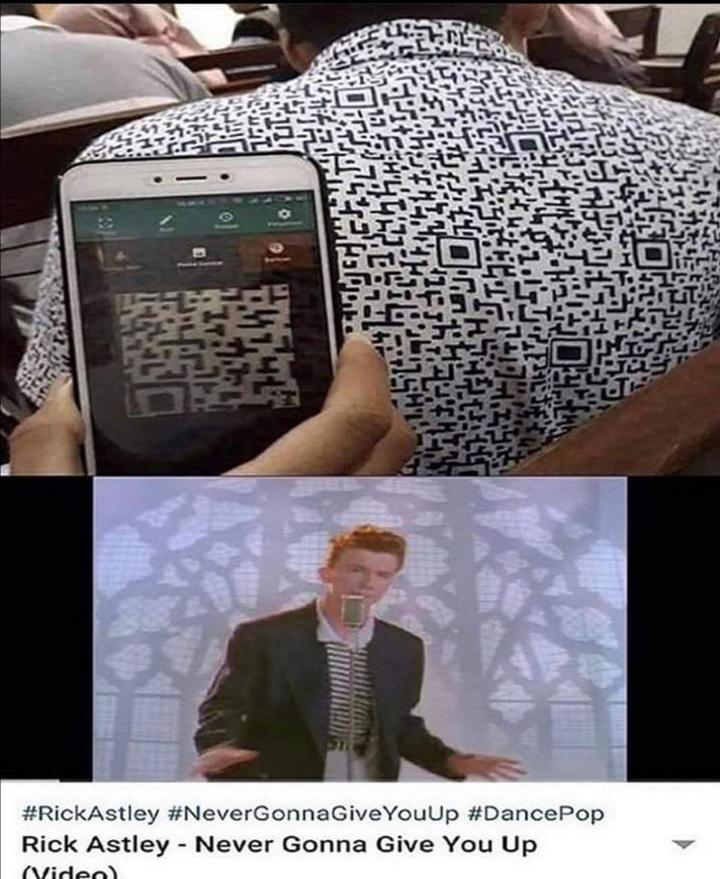 A Qr Code Shirthttps I Redd It Bnm23hse1e851 Jpg In 2020 Rick Astley Funny School Memes Edgy Memes