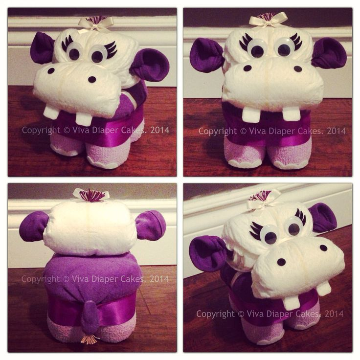 Purple hippo diaper cake animal for girl baby shower. Tutorials available soon. Follow this board for updates. Like my page on Facebook if you like my diaper animal designs.  www.facebook.com/vivadiapercakes