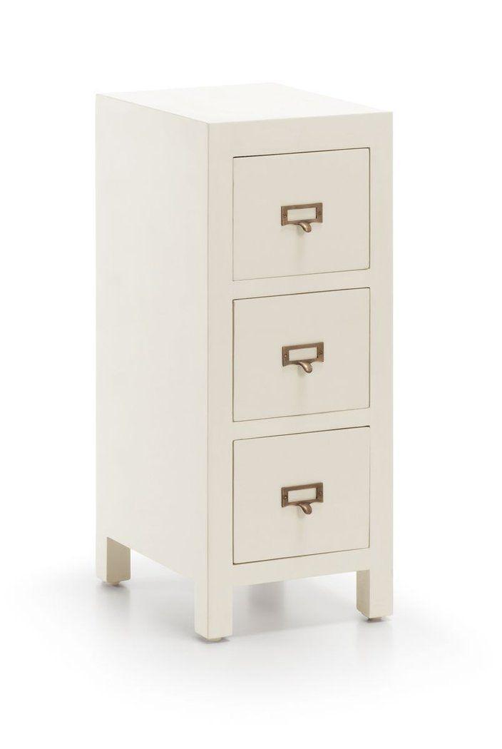 mesa de noche colonial blanca jasmine cajones demarqueses