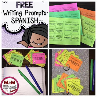 Back to School Bilingual Resources - SPANISH writing prompts FREE