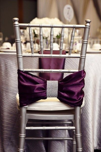 What a statement. Stunning!: Chairs Sash, Idea, Color, Chairs Decor, Purple Wedding, Chairs Bows, Chairs Back, Wedding Chairs, Chairs Covers