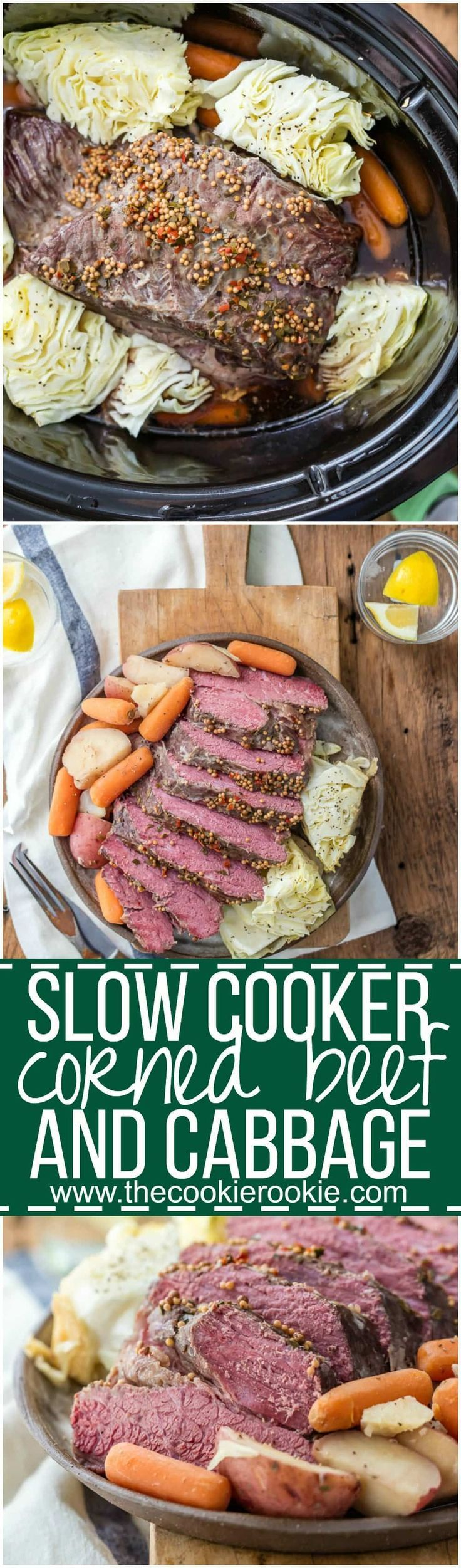 Crock Pot Corned Beef and Cabbage is a MUST MAKE St. Patrick's Day recipe! Slow Cooker Traditional Corned Beef and Cabbage is easy, juicy, tender, and an entire meal in one pot. I can't get enough of those potatoes and carrots in that sauce! My favorite Irish recipe. via @beckygallhardin #cornedbeef #stpatricksday #cornedbeefandcabbage #thecookierookie