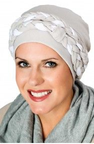 double braid turban in grey and white for cancer patients