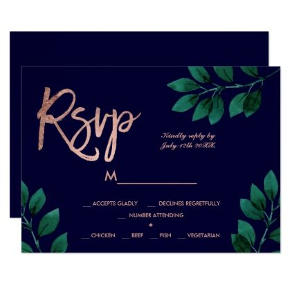 Rose Gold Script Green Leaf Navy Blue Rsvp Wedding Zazzle Com In