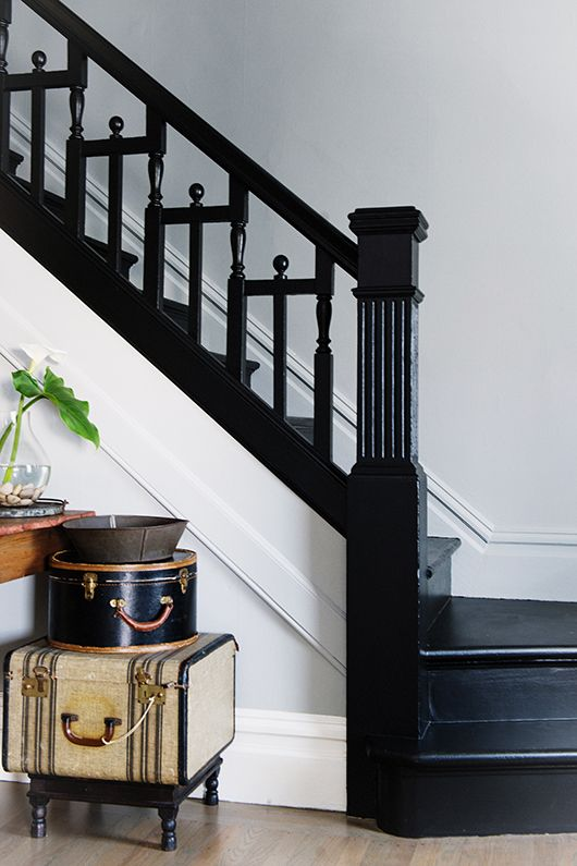 Entryway, Black And White Staircase, Vintage Suitcases