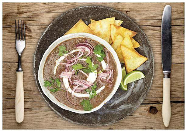 Mexikanische Schwarze Bohnen Suppe
