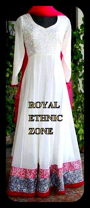 STYLE NO. REZ 240 WHITE FLOOR LENGTH ANARKALI PRICE- 8500/- FABRIC- GEORGETTE EMBROIDERY- THREAD WORK