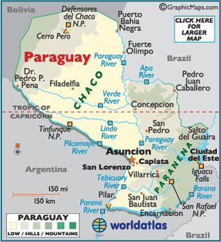 Mapa de Paraguay.